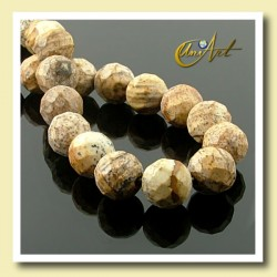 Picture Jasper Bead - 8 mm Round faceted - detail