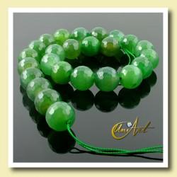 Ágata verde facetada 16 mm - tiras de bolas