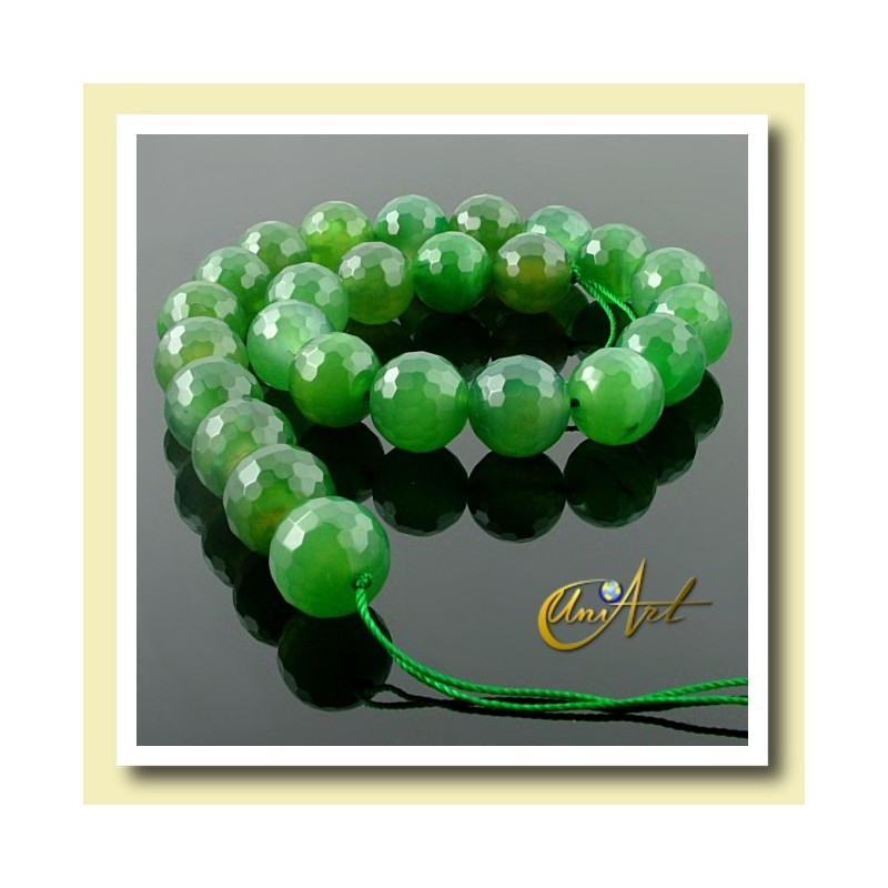 Green Agate Bead - 16 mm Round faceted