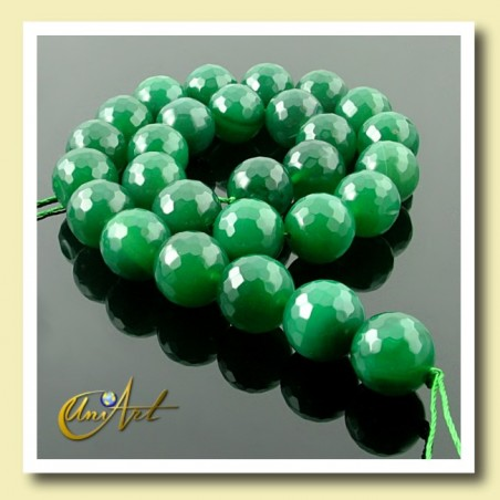 Green Agate Bead - 14 mm Round faceted