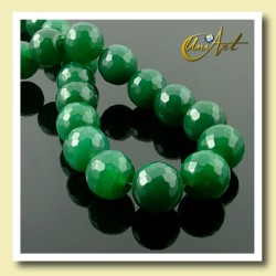 Green Agate Bead - 14 mm Round faceted - detail