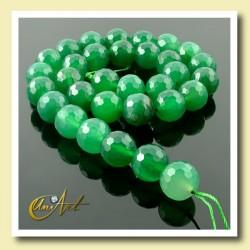 Ágata verde facetada 12 mm - tiras de bolas