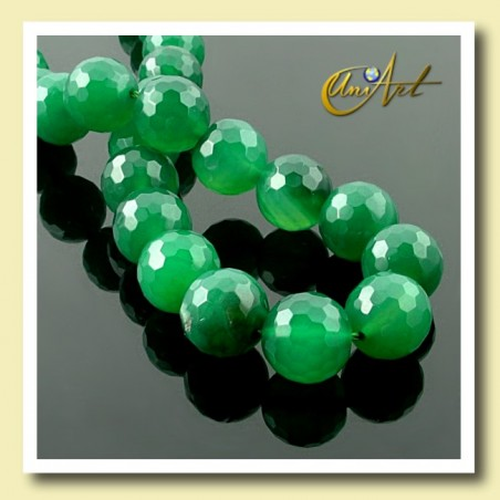 Green Agate Bead - 12 mm Round faceted _ detail