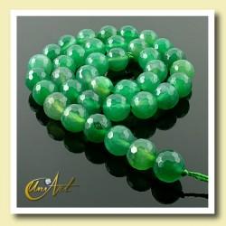 Ágata verde 10 mm facetada - tiras de bolas