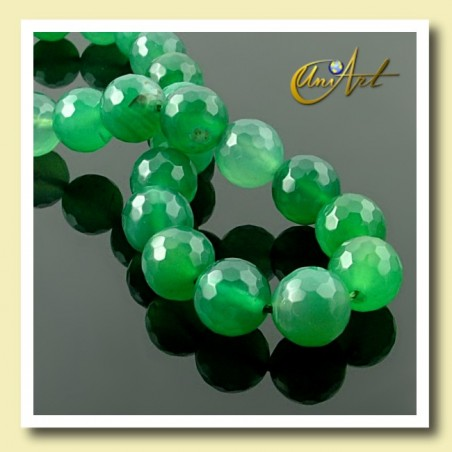 Green Agate Bead - 10 mm Round faceted - detail