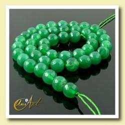 Ágata verde facetada 8 mm  - tiras de bolas