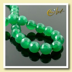 Green Agate faceted Bead - 8 mm Round - detail