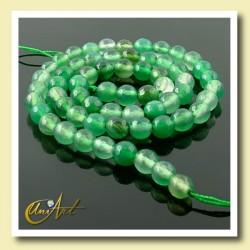 Ágata verde facetada 6 mm  - tiras de bolas