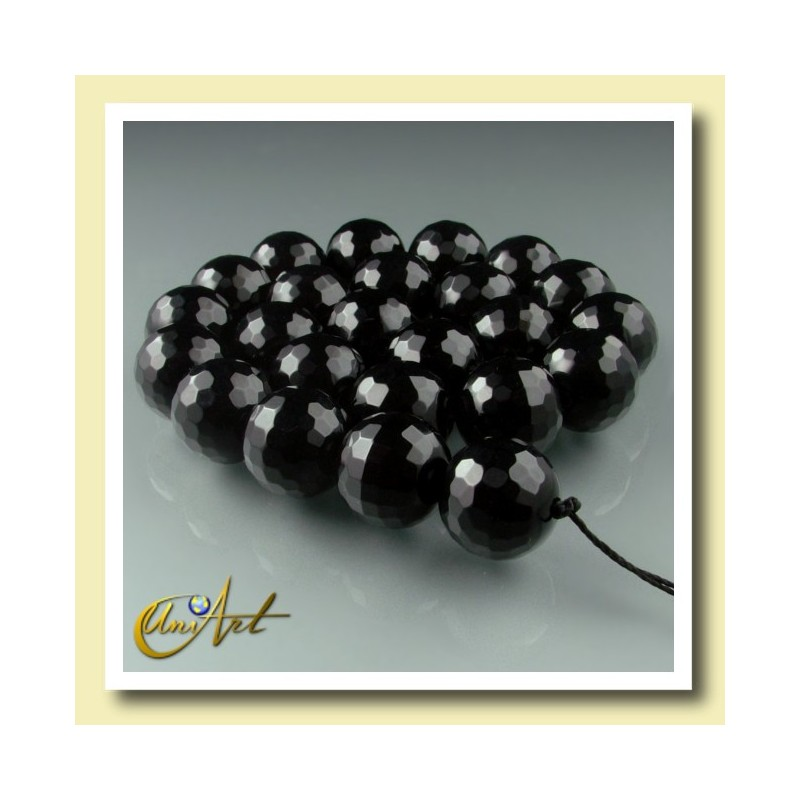 Strings 16mm Black Agate - Faceted Bead