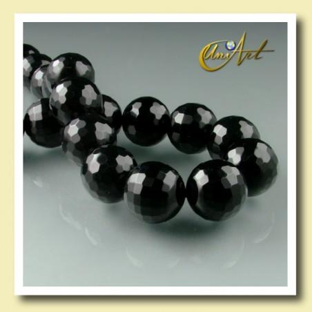 Strings 16mm Black Agate - Faceted Bead - detail