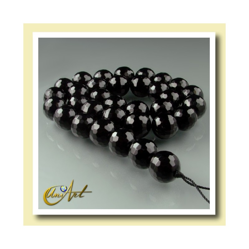 12 mm black agate, faceted ball