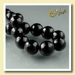 12 mm black agate, faceted ball - detail