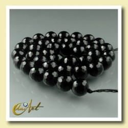 10 mm black agate faceted round beads