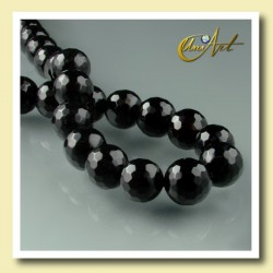 10 mm black agate faceted round beads - detail