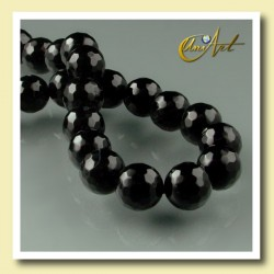 String of round bead 8mm Black Agate - Faceted - detail