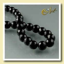 Black Agate - 6 mm faceted round beads - detail