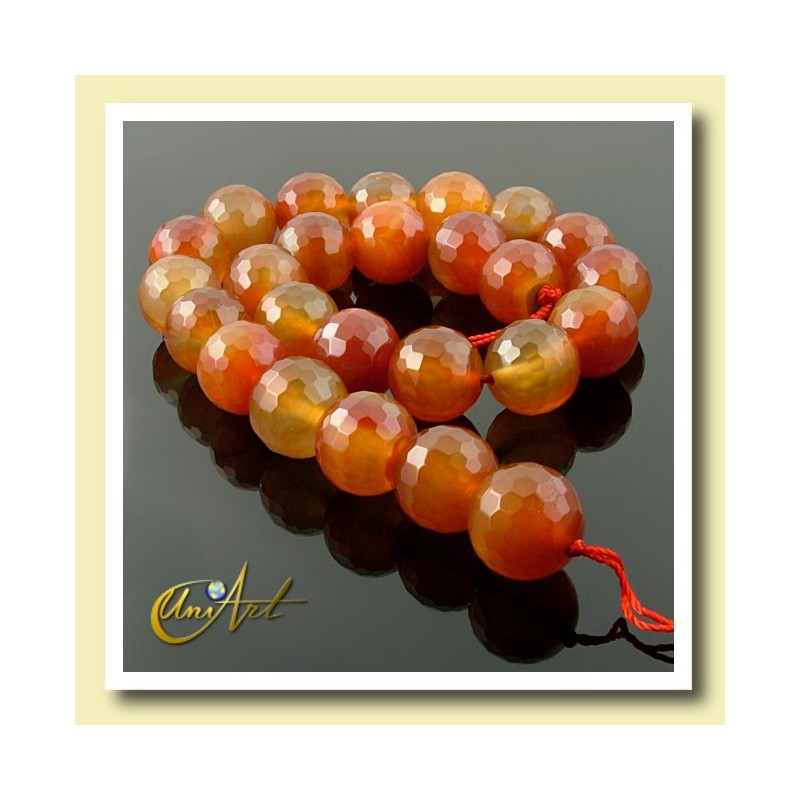 Strings faceted carnelian beads 16 mm