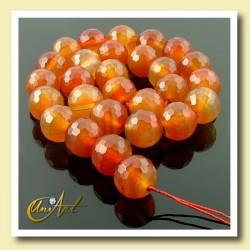 Carneola 14 mm, Tiras de bolas facetadas