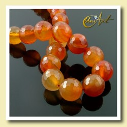 Carnelian 14 mm, faceted beads Strings - detail