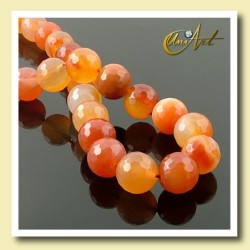 Faceted Carnelian Beads 12mm - detail