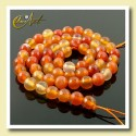 Strings of faceted carnelian beads 6 mm