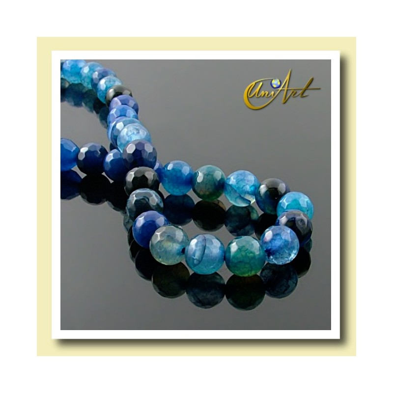 Blue Agate faceted Beads - 6 mm - detail