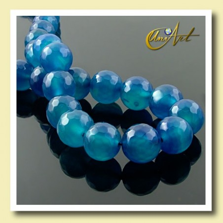 Blue Agate faceted, 10mm round beads - detail