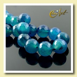 14mm faceted blue agate beads