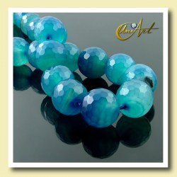 16mm blue agate beads faceted - detail