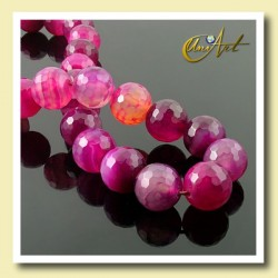 Strings of fuchsia agate faceted 14 mm