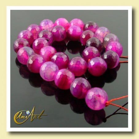 Strings of fuchsia agate faceted 16 mm