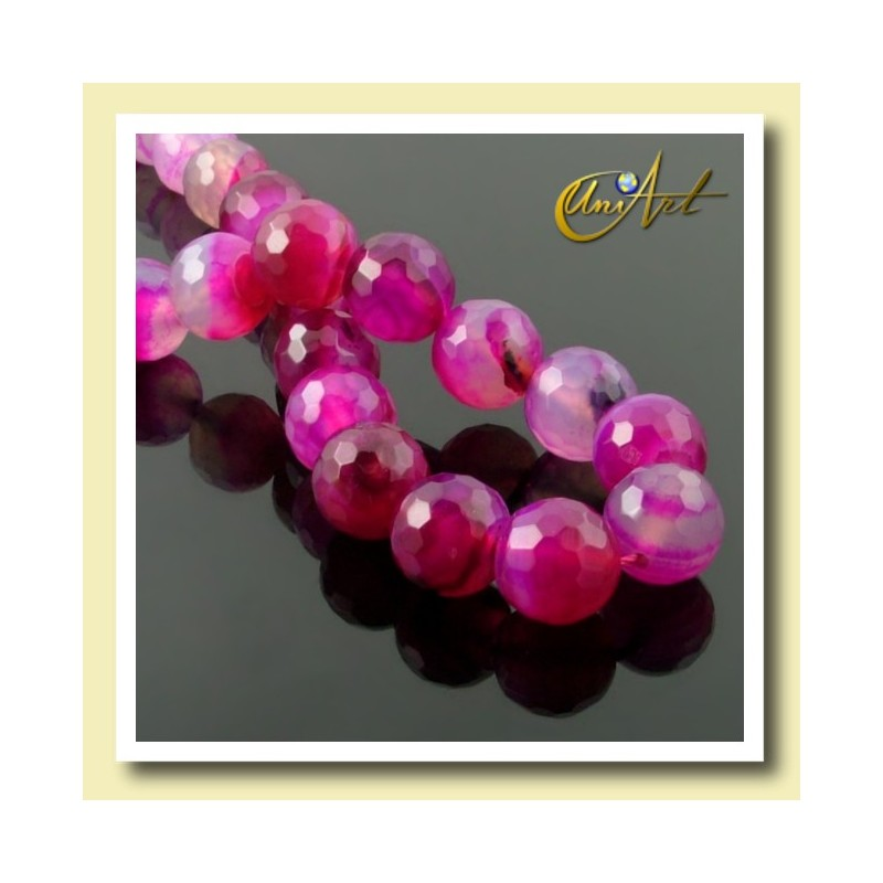 fuchsia agate, strings of 12 mm faceted beads