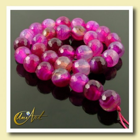 fuchsia agate, strings of 12 mm faceted beads - string