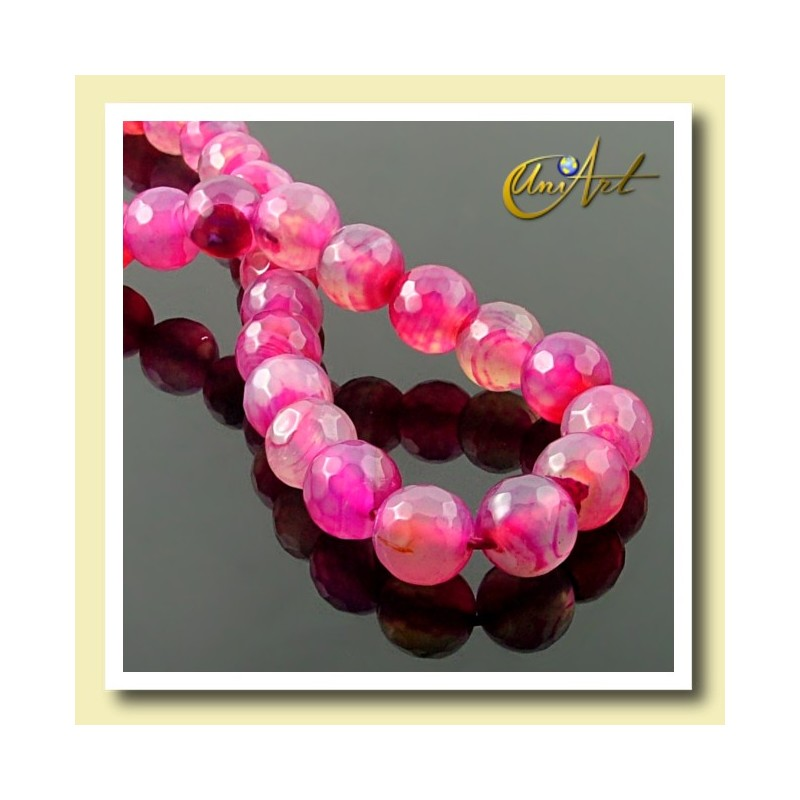 Fuchsia agate faceted beads 10 mm