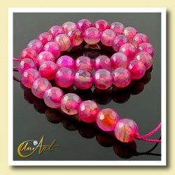 Fuchsia agate faceted beads 10 mm - string