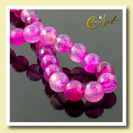 Fuchsia Agate faceted Bead - 8 mm Round