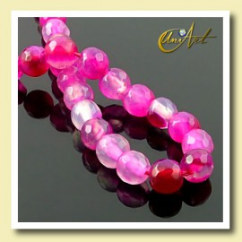 fuchsia Agate - 6 mm faceted round beads - detail