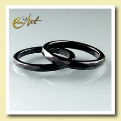 onyx ring - thin and faceted