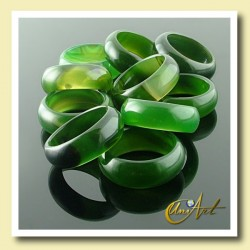 Green agate ring width - pack