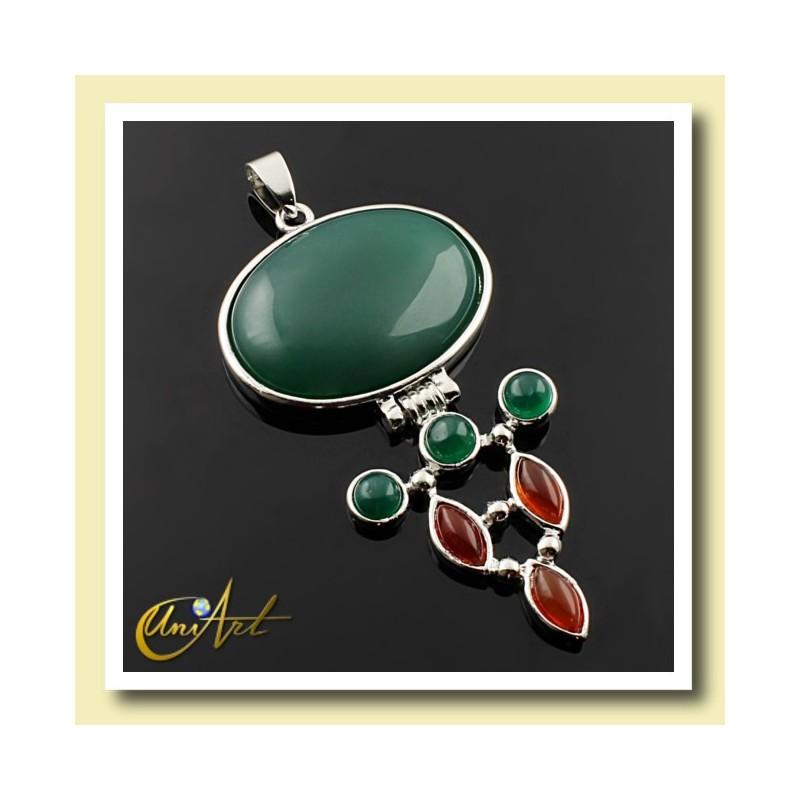 Hinge pendant - green agate