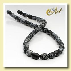 Snowflake obsidian bead - drum