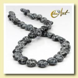 Snowflake obsidian bead - lentil