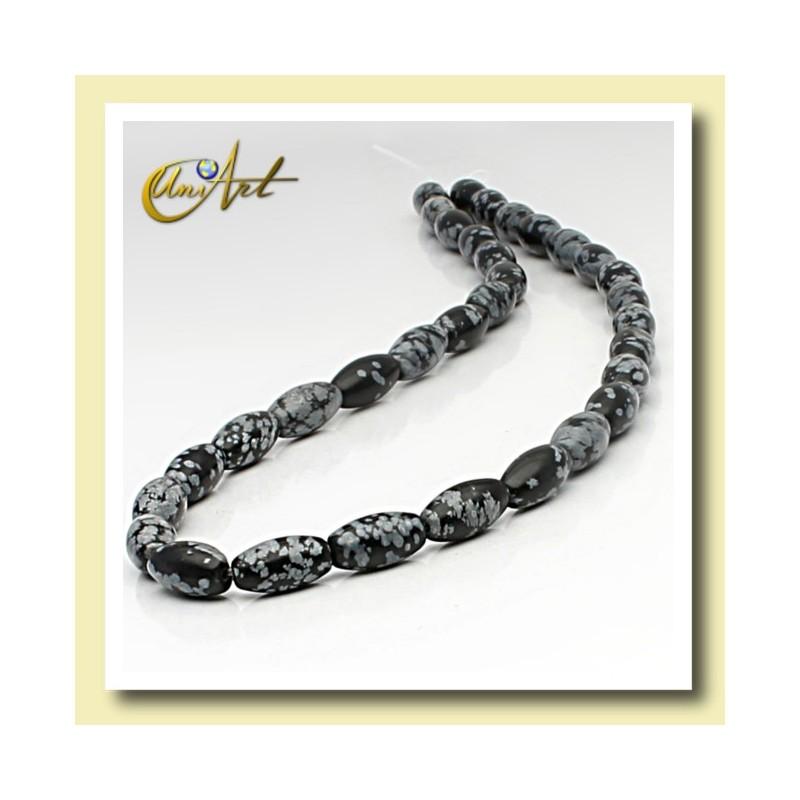 Snowflake obsidian bead - olive