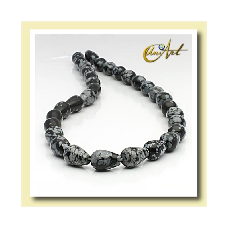 Snowflake obsidian bead - pear