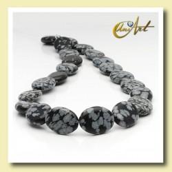 Snowflake obsidian bead - oval
