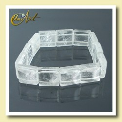 Crystal quartz square shape beads bracelet