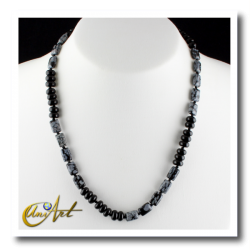 Flake obsidian and onyx necklace