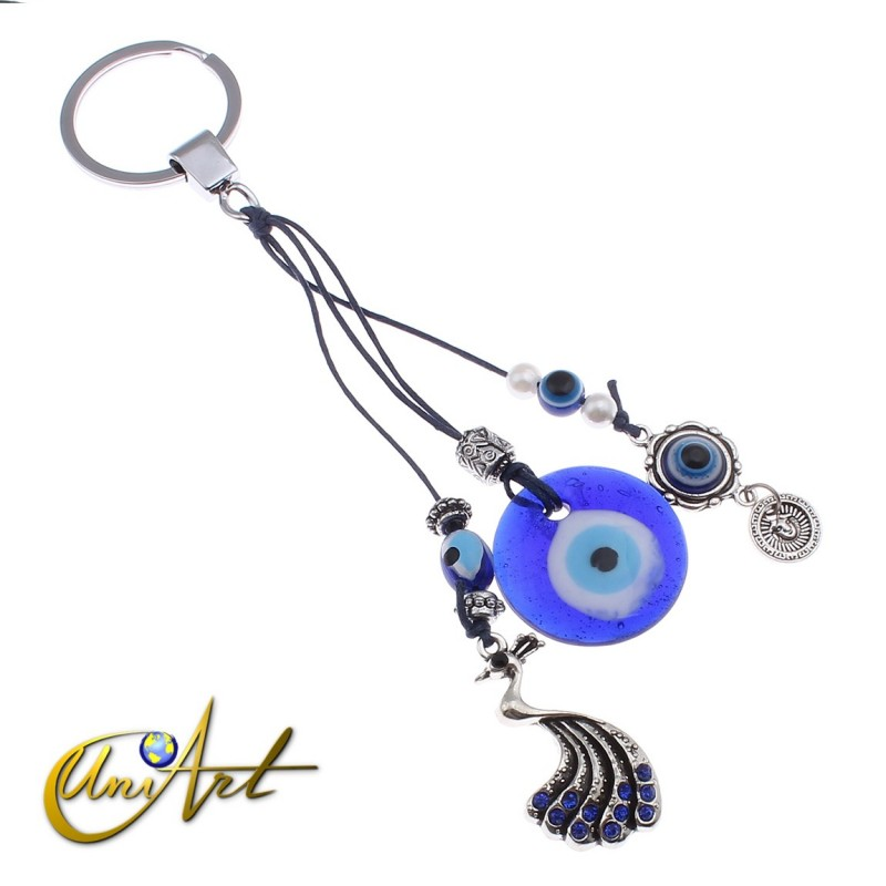 Evil Eye and chinese phoenix amulet Keychain