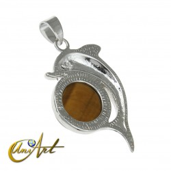 Dolphin Metal Pendant with tiger eye
