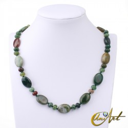 Indian agate necklace - oval beads